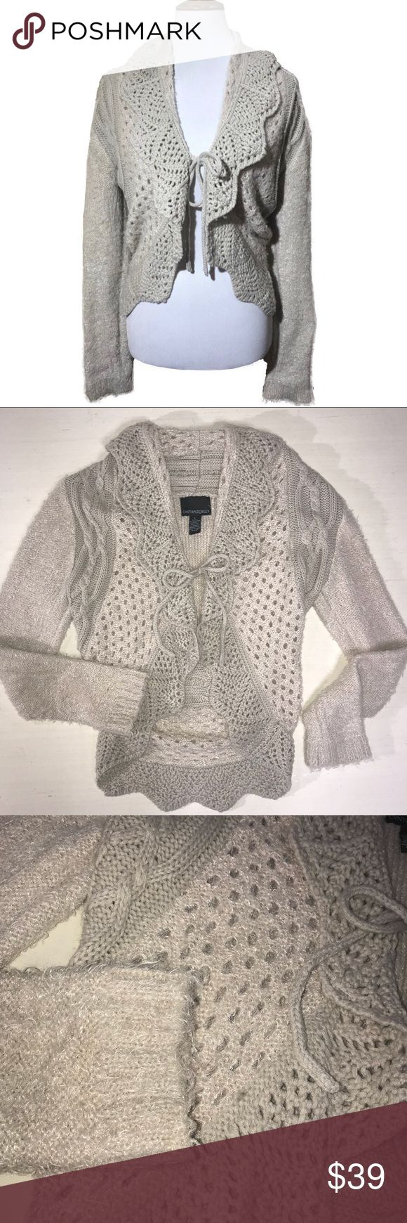 Cynthia Rowley Fuzzy Shrug Sweater Cynthia Rowley shrug sweater, fuzzy fabric in a creamy almond color with crochet knit trim, large foldover collar, string tie. Great condition (factory fuzzing). Cynthia Rowley Sweaters Cardigans