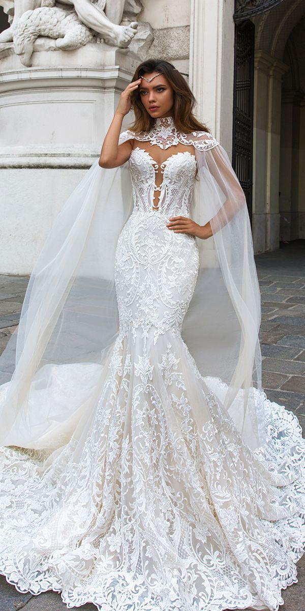 Designer Highlight: Crystal Design Wedding Dresses ❤ crystal design wedding dresses mermaid lace strapless sweetheart neckline with capes gia ❤ See more: http://www.weddingforward.com/crystal-design-wedding-dresses/ #weddingforward #wedding #bride #mermaidweddingdresses #designerweddingdresses
