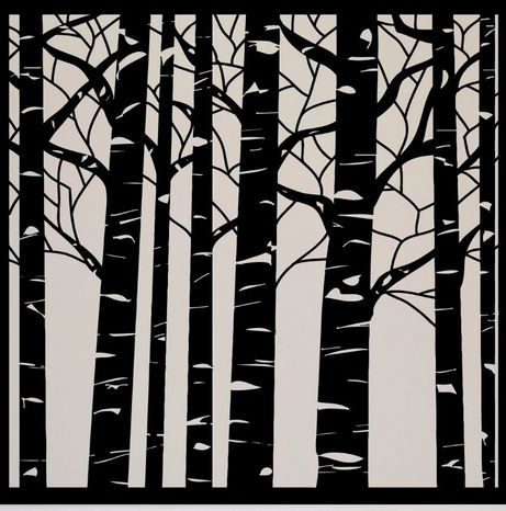 Black And White Birch Aspen Tree Wall Art Birds Forest Stickers Removable  Vinyl Decals Transfer Stencil Nursery Graphic Mural Home Room Decor Living  Room