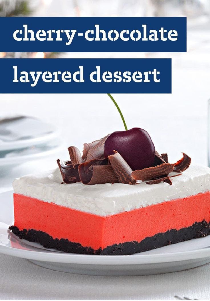 Cherry-Chocolate Layered Dessert — This easy layered dessert is a scrumptious twist on Black Forest cake—made with a chocolate wafer cookie crust and topped with dark sweet cherries. Enter the Share it. Pin it. Win it. Sweepstakes! Pin your favorite holiday recipe or pin your own for a chance to win a tablet! Visit www.kraftrecipes.com/shareit for complete details. #PintoWinSweepstakes