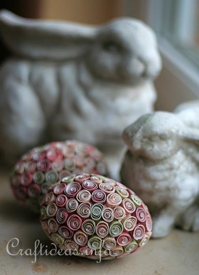 Quilled Easter Eggs over Styrofoam Ball