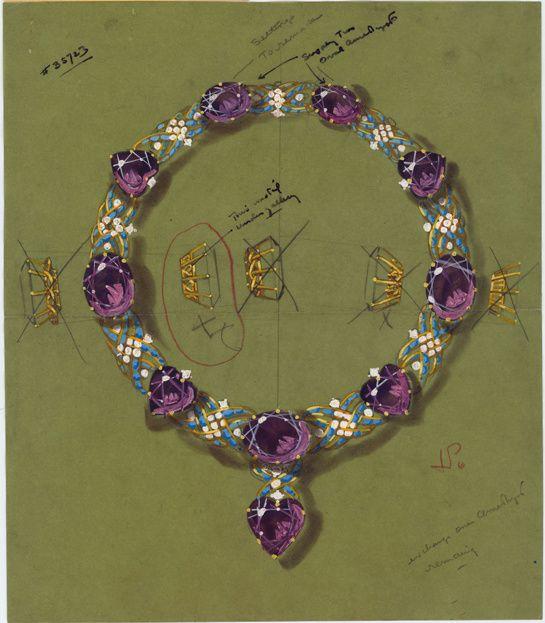 Croquis de la parure Cartier en améthystes et turquoises de Marjorie Merriweather Post http://www.vogue.fr/joaillerie/a-voir/diaporama/joaillerie-bijoux-cartier-de-marjorie-merriweather-post-exposition-hillwood-estate-museum-gardens-washington-dc/19183/image/1011538#!dessin-de-la-parure-cartier-en-amethystes-et-turquoises-de-marjorie-merriweather-post