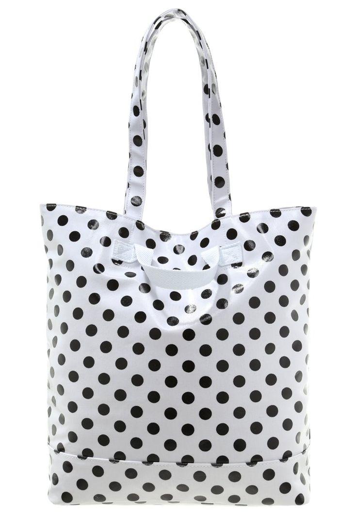 biała torba shopperka w czarne kropki