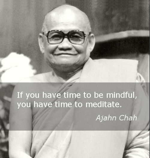 Finding time to meditate ~ Ajahn Chah http://justdharma.com/s/zcyoi  If you have time to be mindful, you have time to meditate.  – Ajahn Chah  source: http://www.budsas.org/ebud/ebdha011.htm
