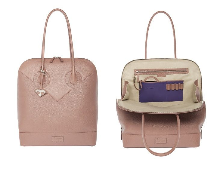 Tillander by Aki Choklat, LIZA business bag, tote, leather, rose champagne pink, purple, Made in Italy