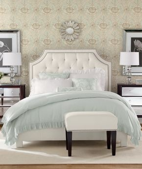 Beautiful headboard... Great colors for master bedroom. White bedding and comfortor with Turquoise coverlet and accent pillows. I would use yellow instead of turquoise though