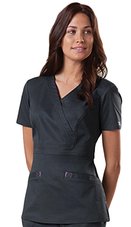 Style Code: (CH-4751)  A mock wrap top that features angled front welt pockets with contrast box stitching and bartacks and contrast bias back neck binding. It has also front princess seams, empire waist, back belt with contrast box stitching and back princess seams for flattering fit and side vents.