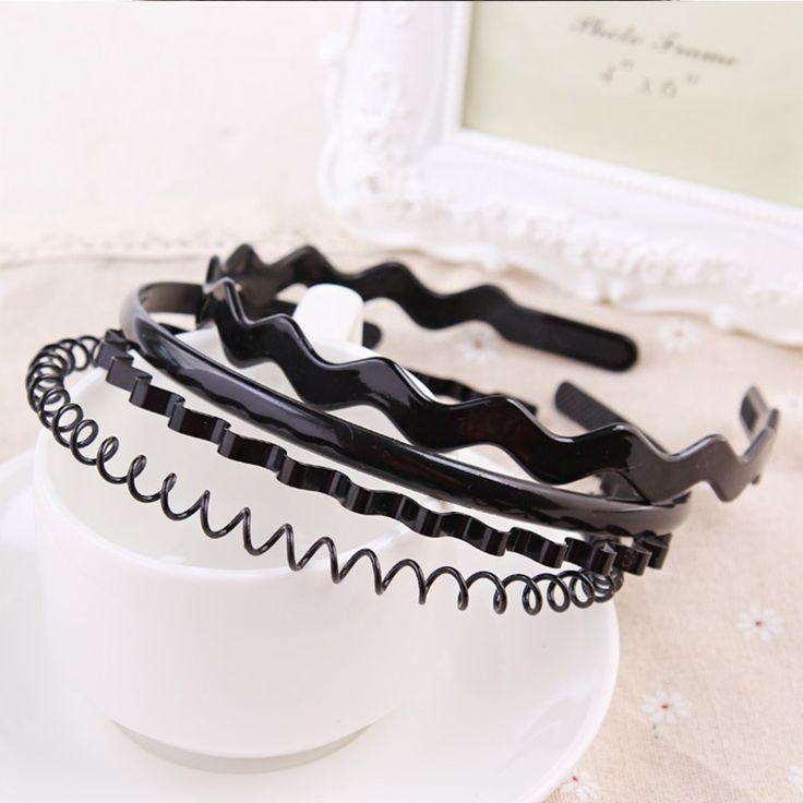 1 ST Nieuwe Mode-koreaanse Meisjes Eenvoudige Haarbanden 4 Stijlen Unisex Zwarte Haarbanden Metalen Golvend Hoofdbanden Voor Vrouwen Haar accessoires