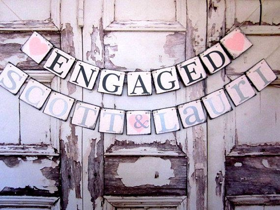 GARLAND Engagement BANNER-Photo prop-ENGAGED-Engagement party decorations-Rustic Sign-Car sign-on heavy weight chip board, $34.00