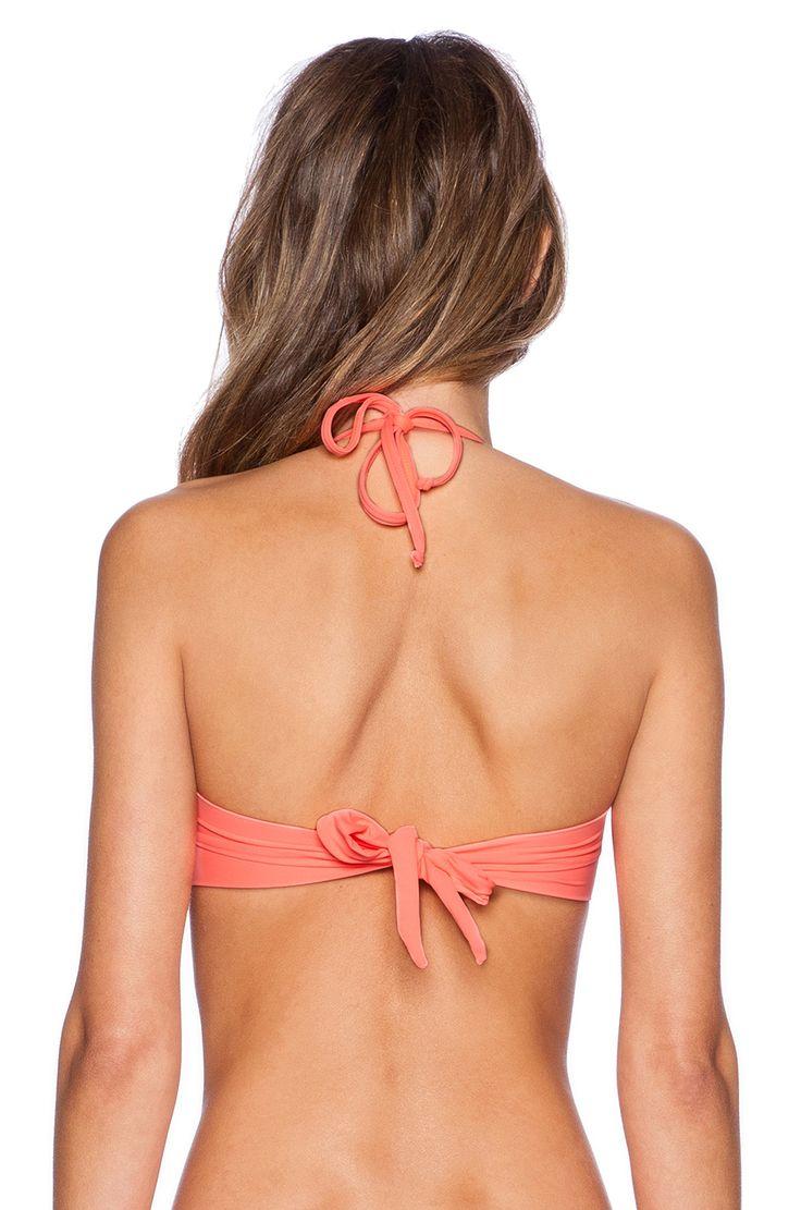 PILYQ Aztec Bandeau Bikini Top in Coral
