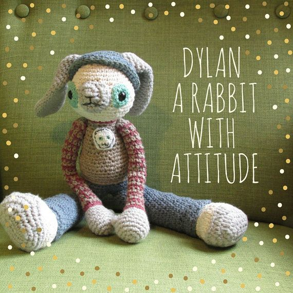 Dylan the rabbit with attitude an amigurumi by cottonandjute