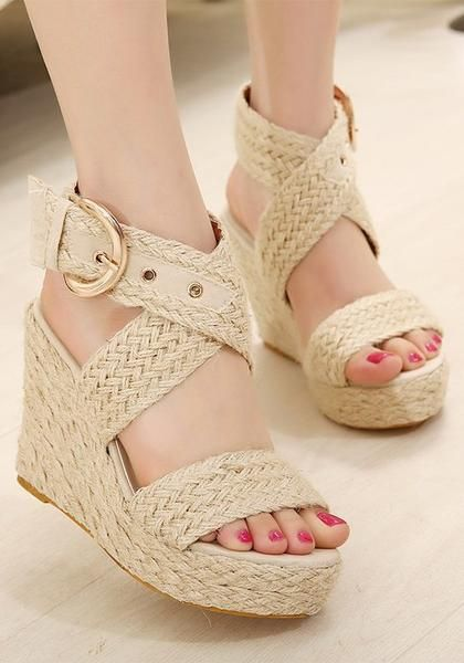 591428b5adc1e8 Apricot Round Toe Wedges Buckle Fashion High-Heeled Sandals