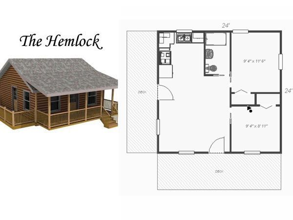 24 X 24 single story Cabin Plans | All Custom Log Cabin Construction & Sales - Custom Built or Material ...