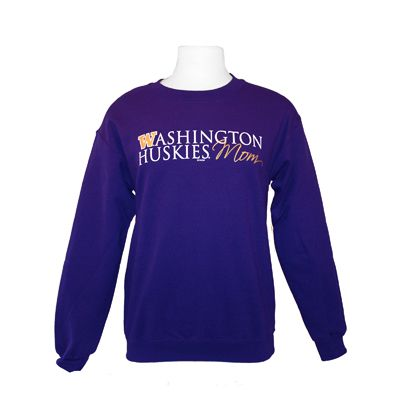 We love a purple and gold family! Stop by the #HuskyShop at the UW Bookstore for this Washington Mom Crewneck!