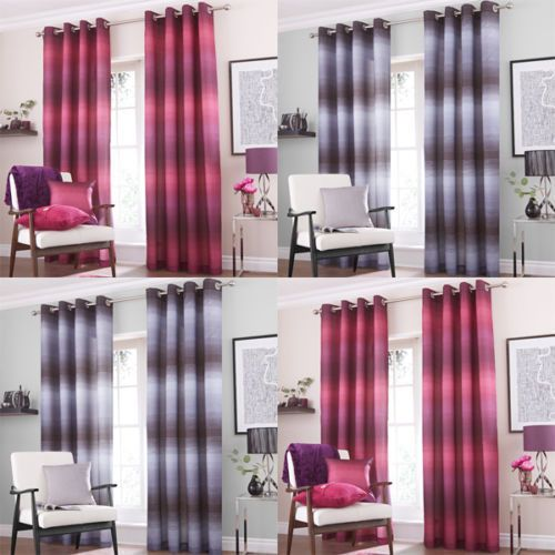 Catherine Lansfield Graded Stripe lined eyelet curtains all sizes New