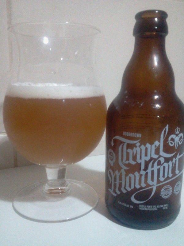 Cerveja Bodebrown Tripel Montfort, estilo Belgian Tripel, produzida por Cervejaria Bodebrown, Brasil. 10% ABV de álcool.