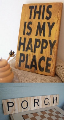 Scrabble tile signs: Decor, Ideas, Wood Signs, Crafts Room, Family Rooms, Happy Places, Gardens, Sewing Rooms, Craft Rooms