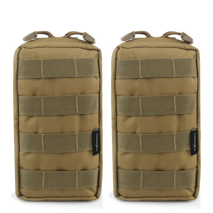 "2-Pack Molle Pouches - Tactical Compact Water-resistant EDC Pouch (Tan). One item includes 2 tactical pouches. Dimensions: 8.3"" x 4.7"" x 2.2"". Constructed by durable 600D nylon material and internal surface are made of waterproof material. 12 Months Warranty. The tactical pack has vinyl sewed inside to keep moisture from soaking through to the material on to the outside, and a steel drain hole rivet in the bottom. The molle attachment bag with 2 buckle straps on the back could be attached…"