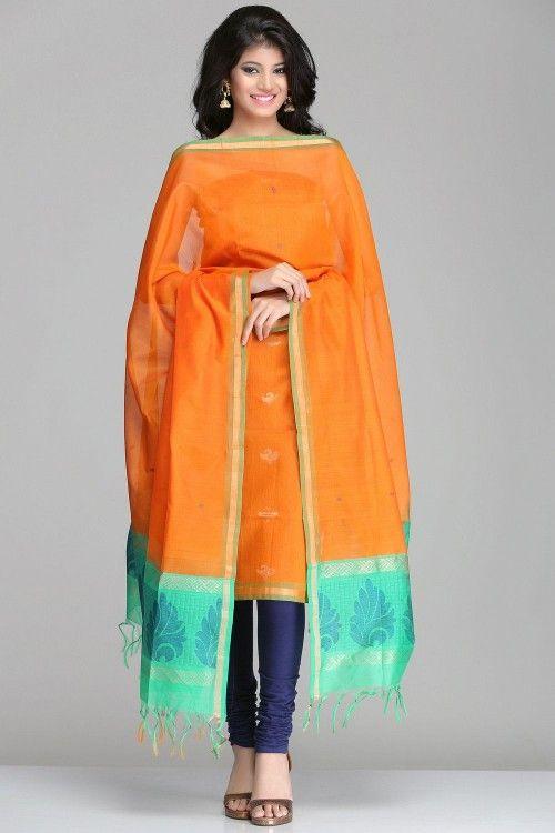 Kora Silk Unstitched Suits | Gorgeous Orange & Sea Green Kora Silk Unstitched Suit With Gold Zari & Blue Motifs | IndiaInMyBag.com