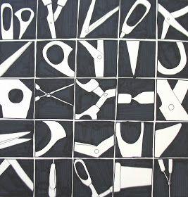 Close-ups van een voorwerp in 25 vierkantjes