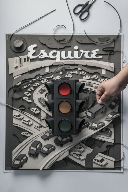 "JOHN ED DE VERA  Traffic Congestion  Paper Cut      15"" X 20"""