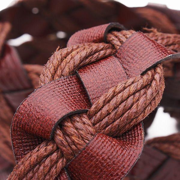110CM Women Belt Bonded Leather Weaving Pattren Pin Buckle Strip
