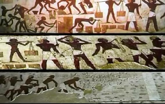Egipskie hieroglify przedstawiające Giganci Mieszkalnych Wielka Piramide.