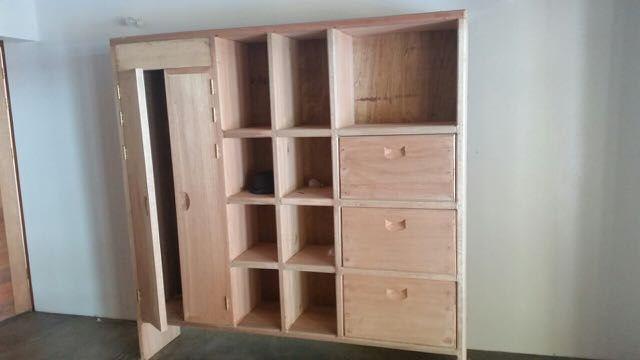 Nice timber wardrobe, drawers and shelves
