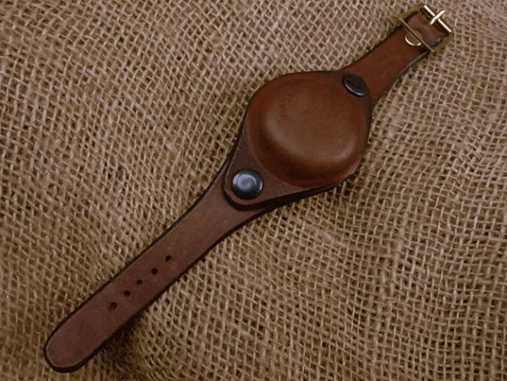 Leather watch strap with protective cover by shamusherron on Etsy, $75.00