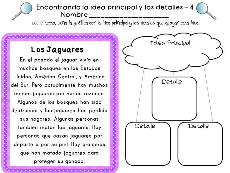 Spanish Reading Comprehension Skills Practice {Idea Principal y Detalles} : Texts, Graphic ...