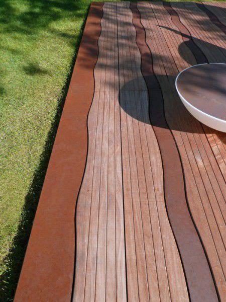 Lame de sol en bois / aspect bois / texturée / pour l'extérieur LAMES ONDULATES D IPE ET D ACIER CORTEN ALTIIS