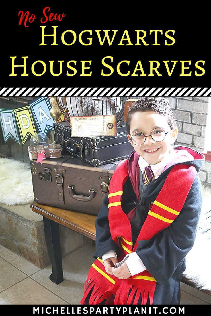DIY No Sew Harry Potter Scarves - Perfect for Harry Potter party favors and costumes! Make them in all of the Hogwarts House colors!
