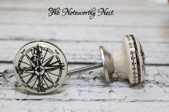 5.99-Nautical Compass Knobs // Decorative knobs // drawer pulls // dresser knob // cabinet knob // unique knobs // black and cream knobs