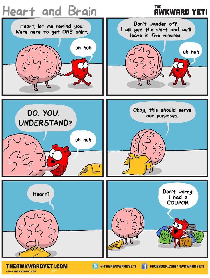 Heart and Brain go for a quick shopping trip to pick up a necessary item. By The Awkward Yeti