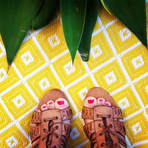 Kimberley Yellow & White Outdoor Rug Style My Home Australia