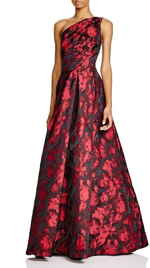 Carmen Marc Valvo Infusion One-Shoulder Printed Gown