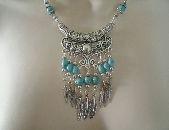 Turquoise Feather Necklace southwestern jewelry por Sheekydoodle