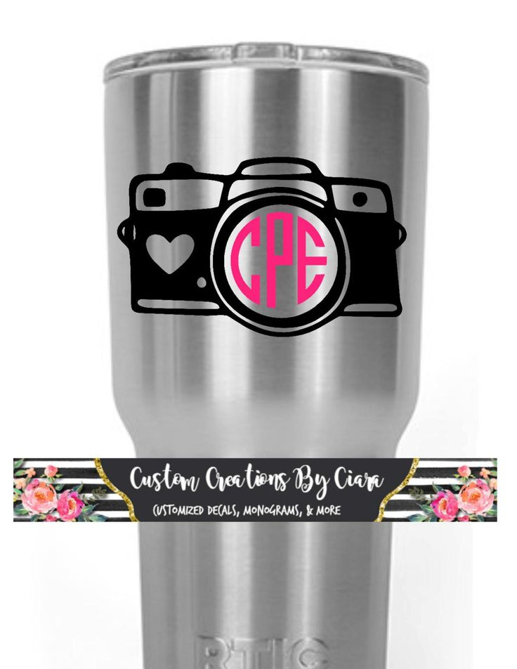 Camera Monogram Decal - Photography - Photographer - Any Size - Any Color - Monogram Sticker - Perfect for Yeti, Car, and SO Much More!!