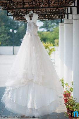Christian Wedding Gowns - White Sequins and Net Frock Wedding Gown | WedMeGood #wedmegood #frock #gown