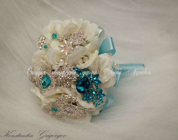 #Brooch #Bouquet #Wedding flower Bridal broach bouquet #Ivory #Turquoise #Crystal Heirloom Beach Wedding Vintage Wedding Bouquet Bridal Bouquet  This listing is for a Deposit of ... #love #instagram #wedding #fashion #beautiful #crystal #brooch #bouquet #ivory #turquoise