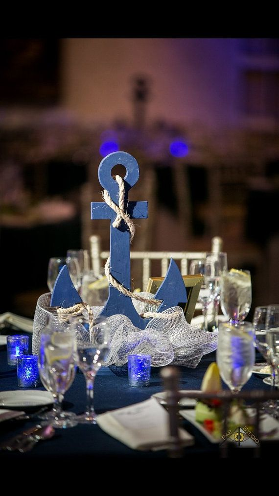 CUSTOM Anchor Wedding Centerpiece, Nautical Wedding Decor, ANY color, Self Standing Anchor