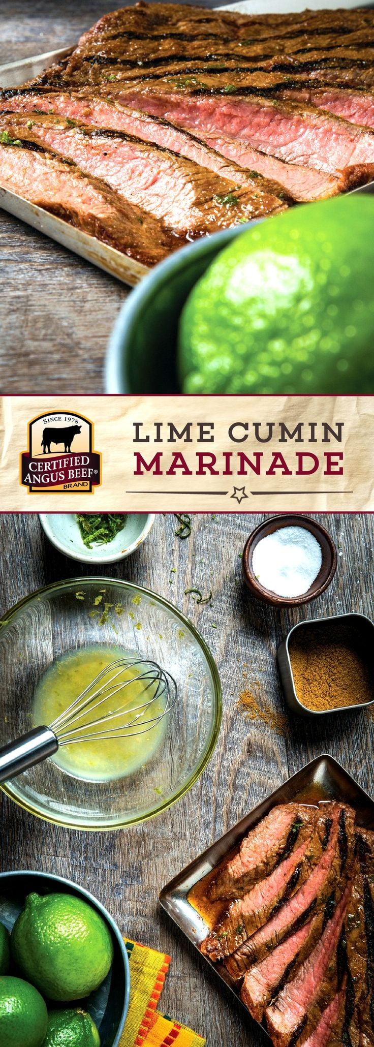 Certified Angus Beef®️️ brand Lime Cumin Marinade is PACKED with zesty lime flavor! The combination of lime juice, lime zest, and cumin brings out a depth of flavor in any cut of beef.  #bestangusbeef #certifiedangusbeef #marinade #seasoning