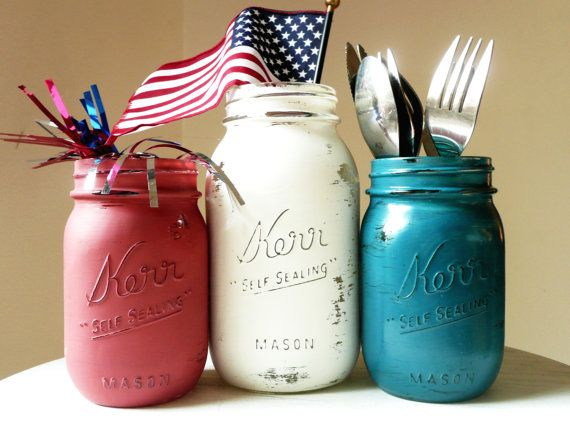 painted mason jars for July 4th