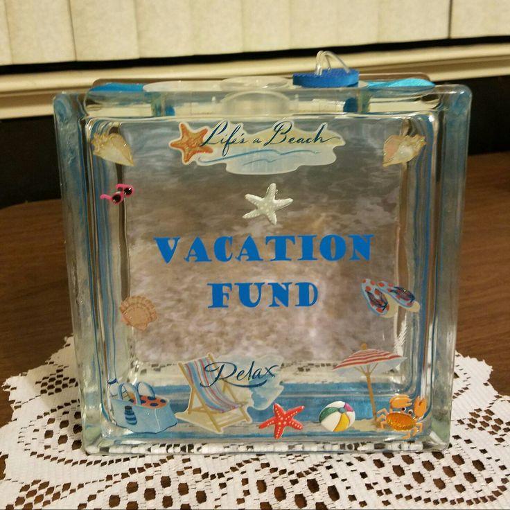Beach Sea Theme Vacation Fund Glass Block Piggy Bank