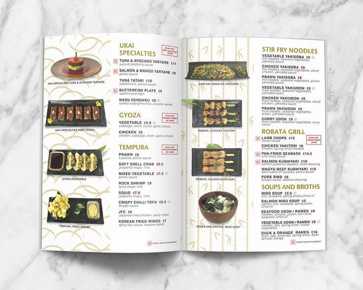 Japanese themed Takeaway Menu Design for UKAI Gastropub. Special plate and Noodles, Grills, Miso Soups page.
