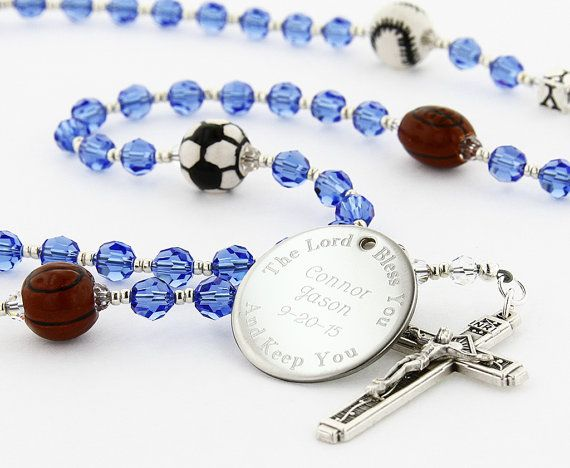 Engraved Sports Rosary Boy Rosary First by CharmingRosary on Etsy