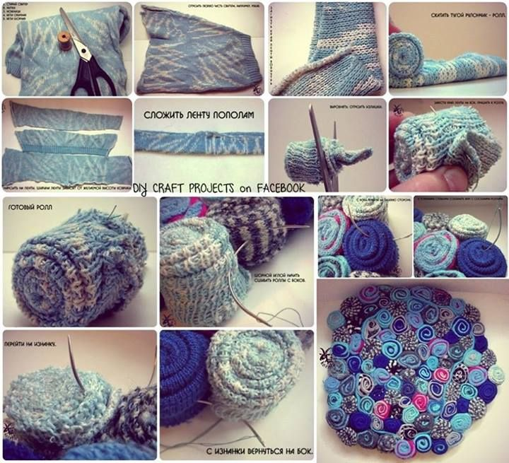 DIY Rug With Old Sweaters Cool Stuff Pinterest Craft - Diy rugs projects