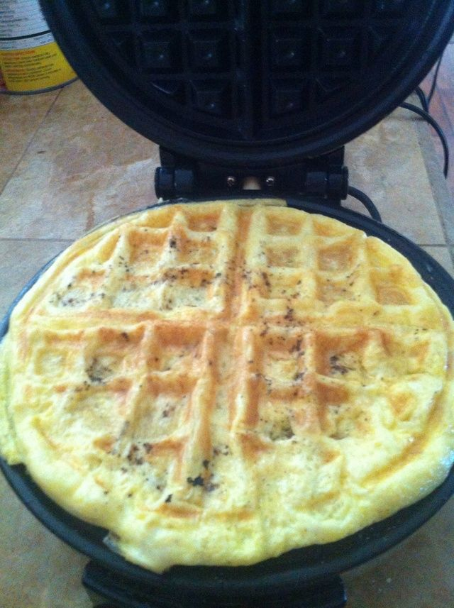 Cook your scrambled egg in a waffle machine. How easy is that!