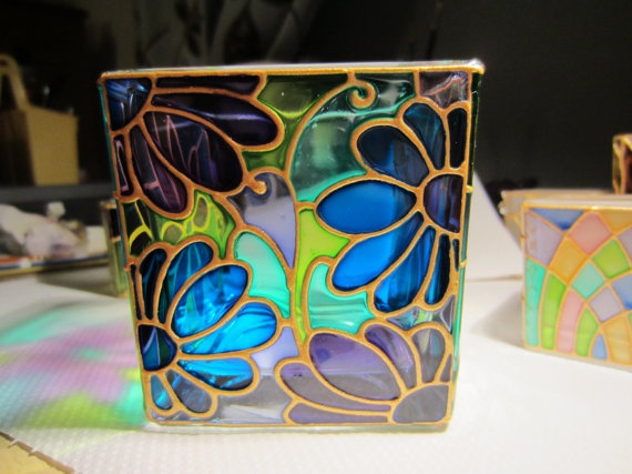Unique Hand Painted Glass Candle Holder by ASplashofColour1, £12.75