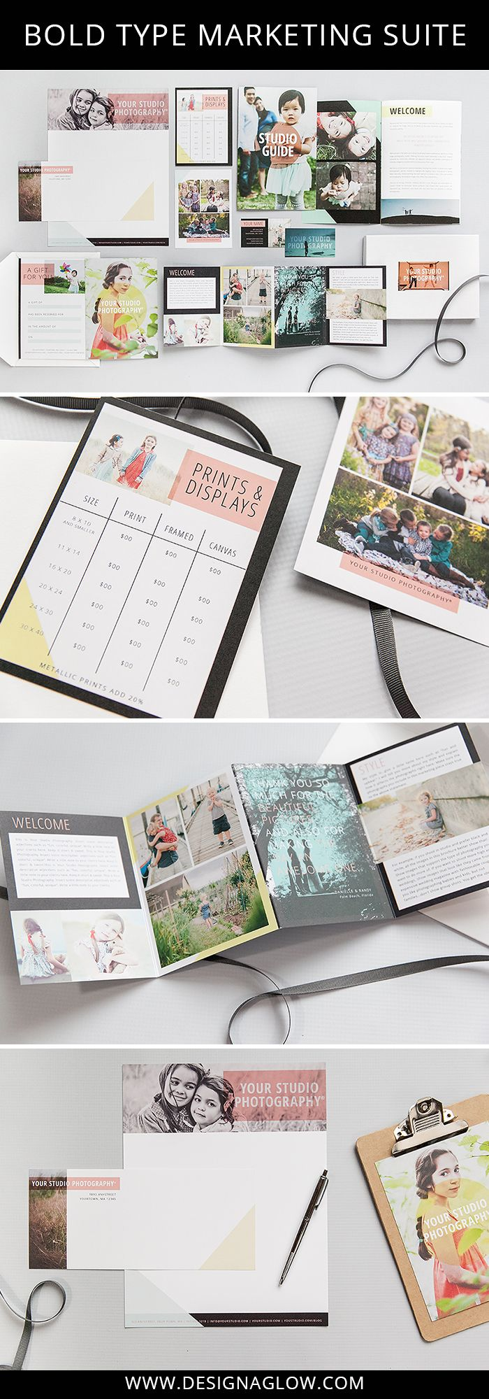 A stunning marketing suite for photographers. Make a bold statement for images that pop with the bang of an art gallery exhibit. What's more, our fresh palette of colors means any style of photography will benefit from these perfect pairings. #designaglow